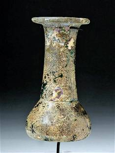 Roman Translucent Emerald-Green Glass Unguentarium