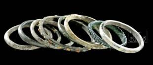 Group of 8 Roman Glass Bangles / Bracelets