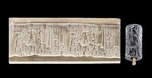Old Babylonian Stone Cylinder Seal Bead Deity
