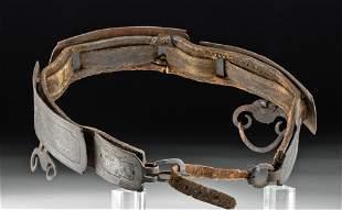 18th C. Tibetan Leather Belt w/ Silvered Steel Plates