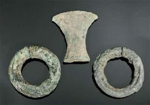 2 Dong Son Bronze Bracelets + Bronze Axe