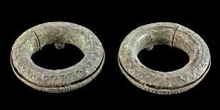 Pair of Dong Son Bronze Child's Bracelets