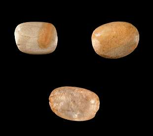 Lot of 3 Neolithic North African Stone Lip Plugs