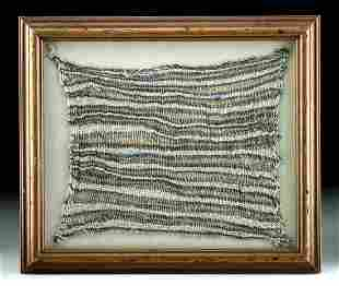 Framed Chancay Textile - Colorful Striped Pattern