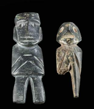 Two Guerrero Mezcala Stone Axe God Figures