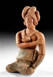 Naturalistic Maya Jaina Polychrome Seated Lord TL'd