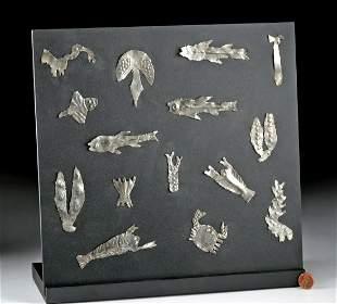 Sican-Lambayeque Silver Votives - Birds, Sea Creatures