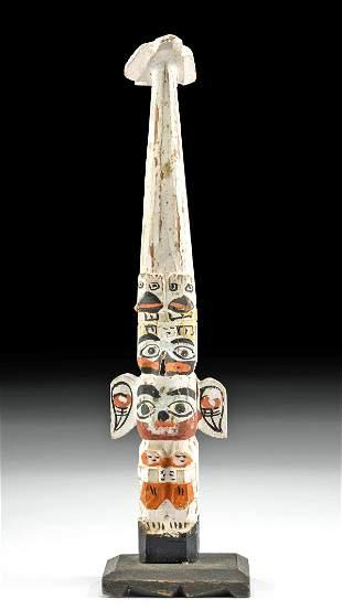1930s Native American Haida Wood Totem Pole