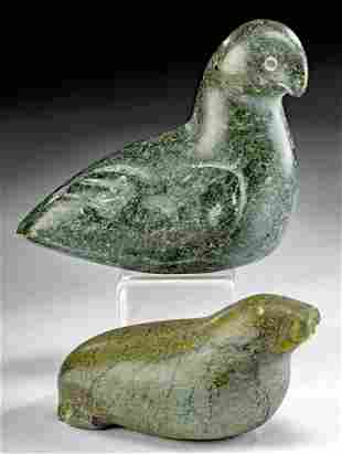 Mid 20th C. Inuit Stone Walrus & Bird Figures, ex Komor