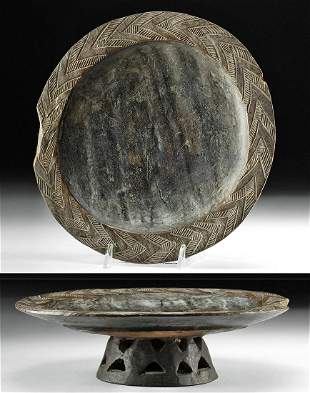 Early 20th C. African Kuba Wood Pedestal Bowl