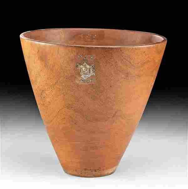 "20th C. Hawaii Wood Bowl - Signed ""Wood Rose Shop"""