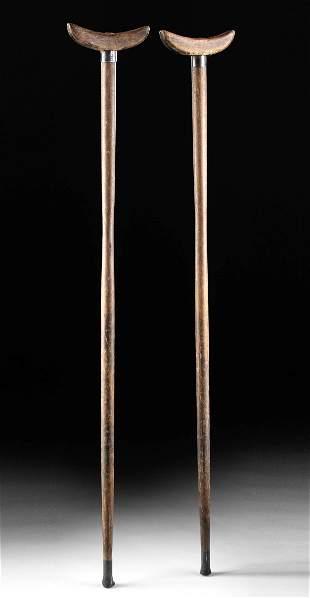 Pair of American Civil War Era Wooden Crutches