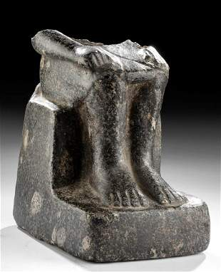 Egyptian 18th Dynasty Carved Granite Figure Lower Torso