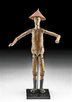 18th C. Chinese Qing Wood Articulated Male Manchu Doll