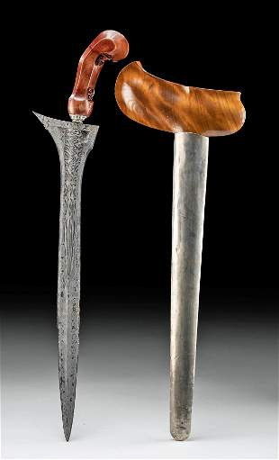 20th C. Indonesian Wood, Iron, Copper & Silver Kris