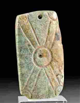 Stunning Olmec Incised Jade Pendant