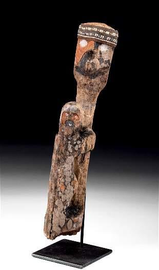 Chancay Wood / Textile Sculpture - Mother & Child