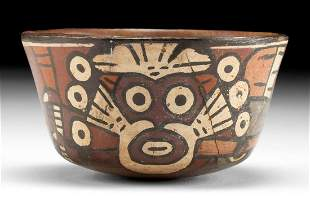 Nazca Polychrome Bowl w/ Bird & Deity, ex Museum