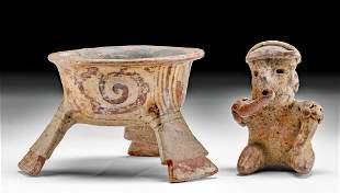Jalisco Pottery Figure & Mixtec Pottery Tripod Bowl