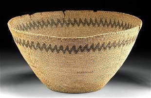 Huge 20th C. Native American Pima Woven Vegetal Basket