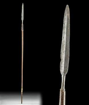 Early 20th C. African Zulu Steel Spear / Wood Shaft