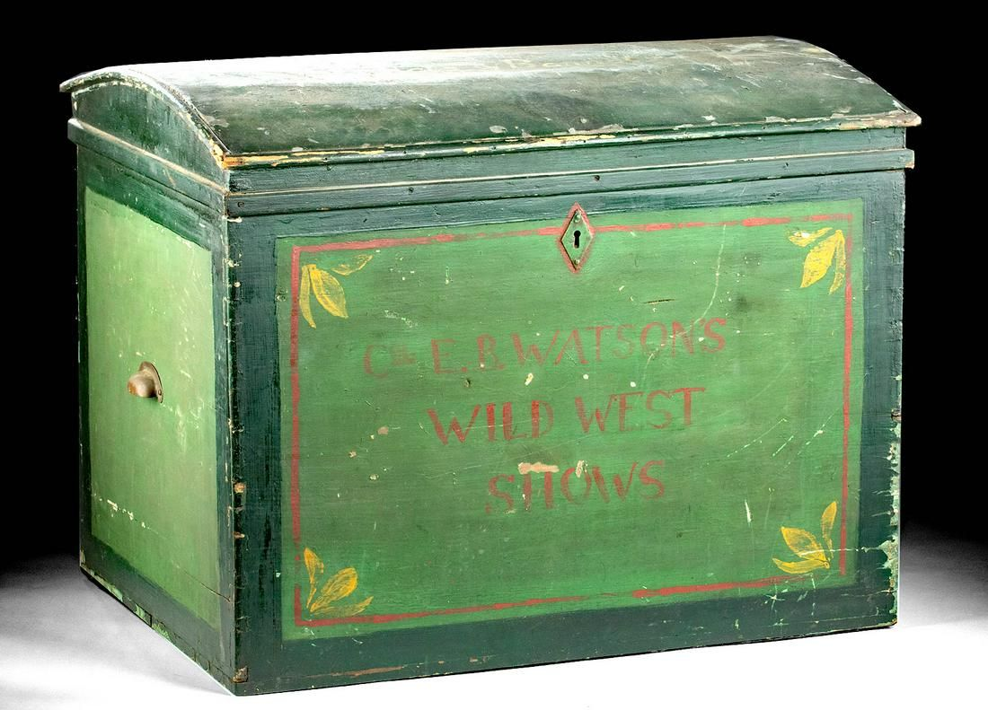 20th C. Painted Wood Trunk Watson's Wild West Show