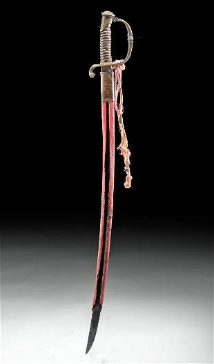 19th C. French Iron Saber w/ Leather Scabbard