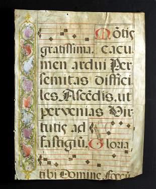 17th C. European Vellum Antiphonal Sheet Music