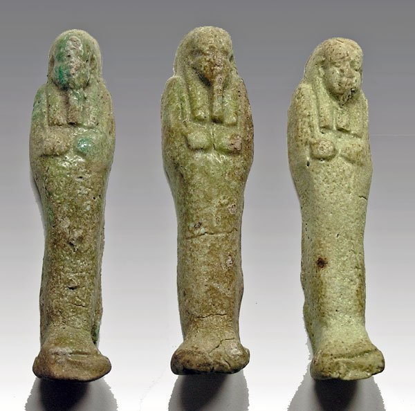 13: Lot of 3 Egyptian Late Dynasties Ushabtis
