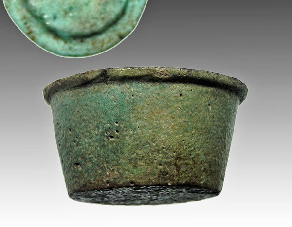 14: An Egyptian Faience Lidded  Vessel, Ex-Joel Malter
