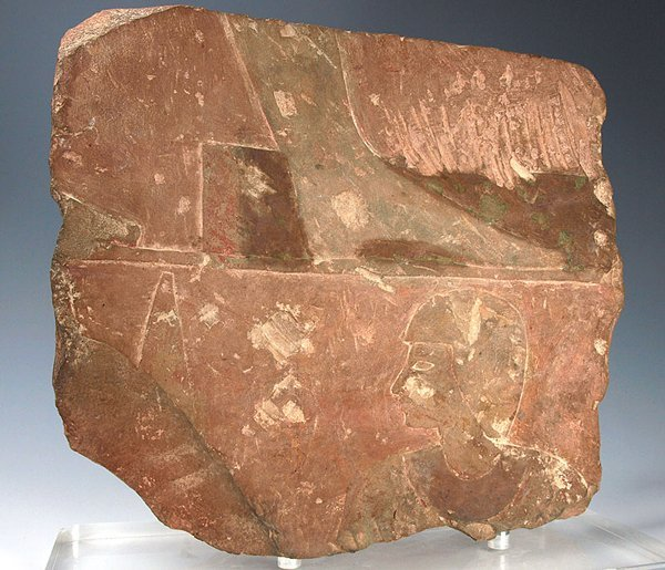 38: An Egyptian Pink Limestone Military Relief Fragment