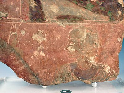 38: An Egyptian Pink Limestone Military Relief Fragment - 2