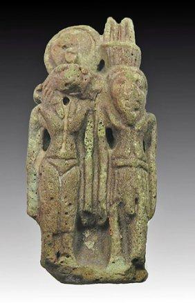 An Egyptian Amulet Of Sekhmet And Nefertum