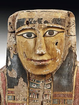 64: An Egyptian Wood / Polychrome Upper Sarcophagus