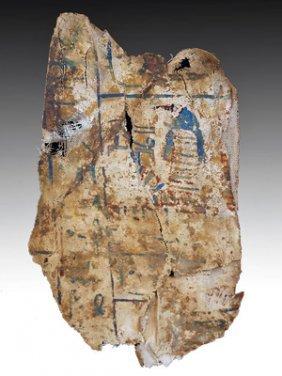 An Egyptian Cartonnage / Polychrome Fragment