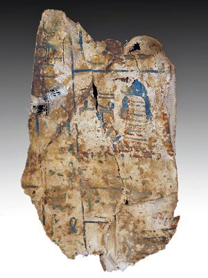 66: An Egyptian Cartonnage / Polychrome Fragment