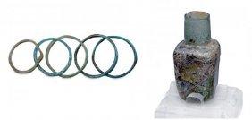 Roman-Egypt Bracelets Plus Islamic Glass Flask