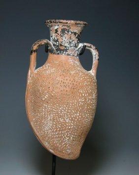 """A Greek Attic """"Plastic"""" Pottery Flask"""