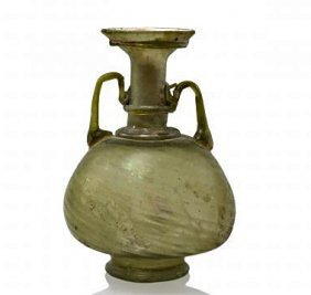 A Tall Roman Glass Twin-Handled Flask