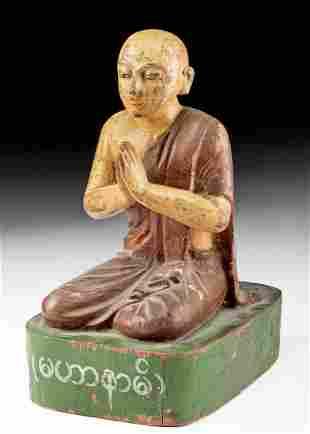 19th C. Burmese Wood & Polychrome Buddhist Monk