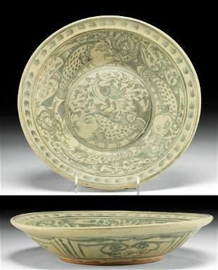 Thai Sukhothai Glazed Pottery Dish w/ Fish, ex-Museum