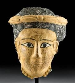 Romano-Egyptian Polychrome Cartonnage Mummy Mask