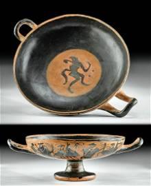 Greek Attic Black-Figure Kylix w/ Dancing Satyr