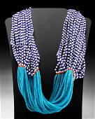 Mid 20th C. Indian Naga Multistrand Glass Bead Necklace