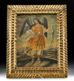 Early 20th C. Peru Painting, 19th C. Frame, San Raphael