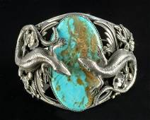 20th C. Navajo Silver & Turquoise Cuff by Curtis John