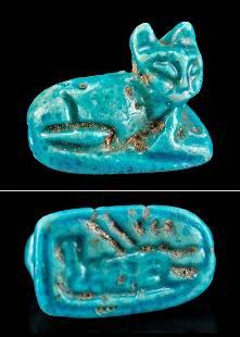 Egyptian Faience Cat Pendant w/ Tawaret