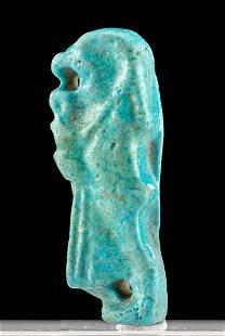 Egyptian Glazed Faience Pendant of Qebehsenuef