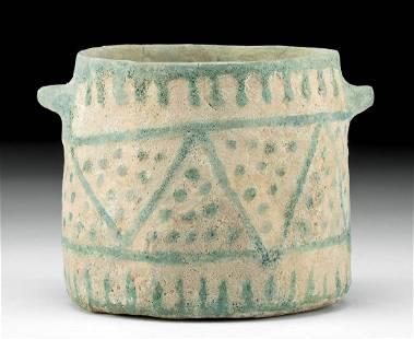 Rare Egyptian Faience Jar Geometric Motif