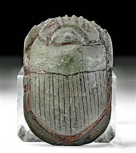 Egyptian New Kingdom Graywacke Heart Scarab